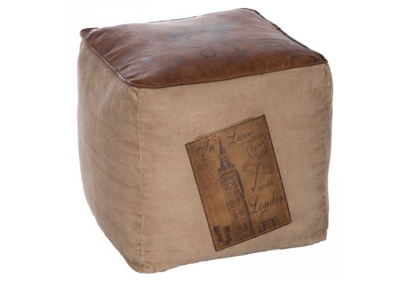 pouf polo carr coton cuir marron 40x40x40cm jolipa j line by jolip. Black Bedroom Furniture Sets. Home Design Ideas