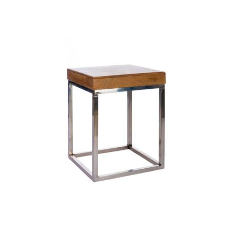 Table Gigogne Carrée Bois/Métal Naturel/Argent 45X45X60Cm Jolipa