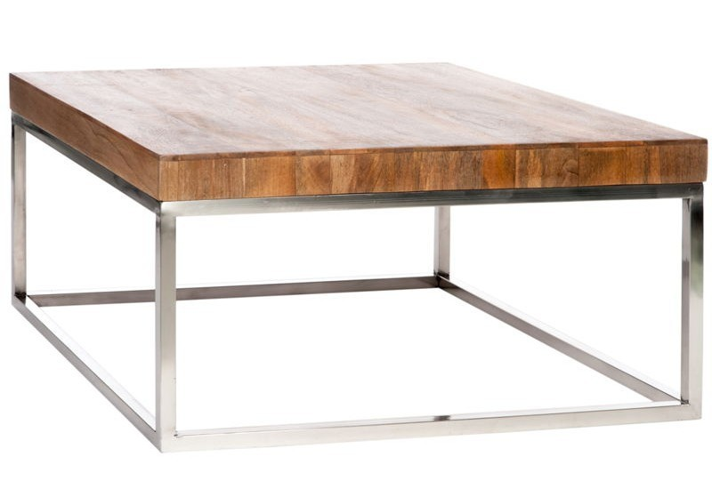 Table de salon carr e bois m tal naturel argent 92x92x46cm jolipa j - Table salon bois metal ...