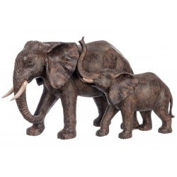 léphants Résine Marron 45X27X28Cm Jolipa