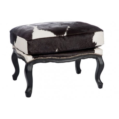 pouf peau de vache bois noir 53x50x65cm jolipa j line by jolipa 14957. Black Bedroom Furniture Sets. Home Design Ideas