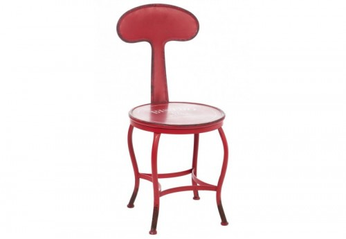 Chaise Ronde Bistro Metal Rouge 37,5X45,5X80Cm Jolipa