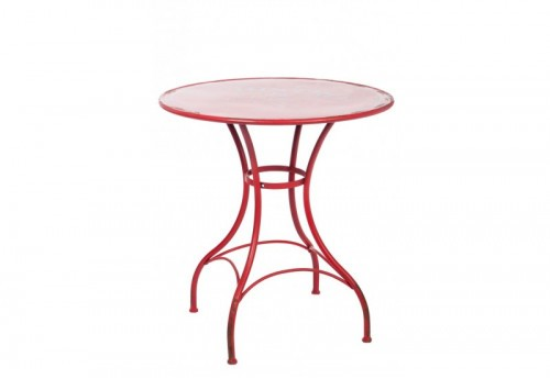 Table Ronde Bistro Métal Rouge 71X71X75Cm Jolipa