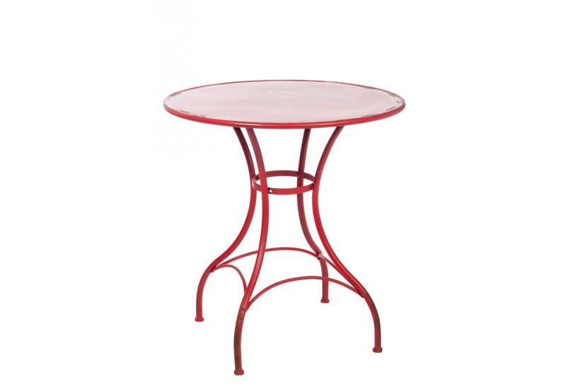 Table ronde bistro m tal rouge 71x71x75cm jolipa j line by for Table de jardin bistrot