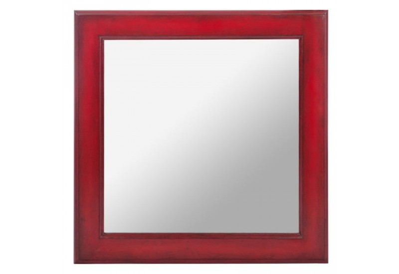 Miroir carre bois rouge 50x3x50cm jolipa j line by jolipa for Miroir long mural