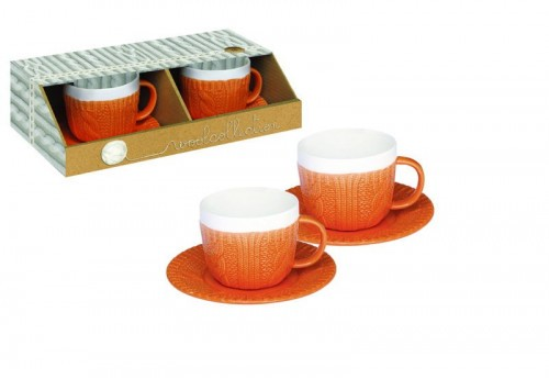 Ensemble 2 Tasses Orange Moka 100Ml