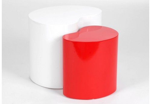 Set De 2 Tables D'Appoint Haricot Blanc Et Rouge Design Amadeus