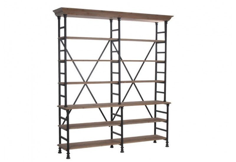 etagere metal noir et bois. Black Bedroom Furniture Sets. Home Design Ideas
