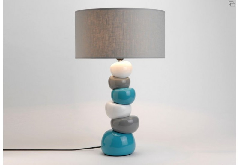 lampe contemporaine en c ramique turquoise gris amadeus. Black Bedroom Furniture Sets. Home Design Ideas