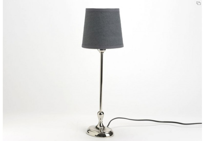 lampe poser moderne chic chrome ovale et abat jour lin gris amade. Black Bedroom Furniture Sets. Home Design Ideas