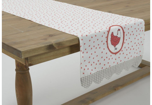 chemin table en coton blanc imprim c ur et poule rouge paulette 45. Black Bedroom Furniture Sets. Home Design Ideas