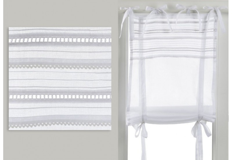 store enrouleur romantique broderie secret blanc 80x160 cm amadeus. Black Bedroom Furniture Sets. Home Design Ideas