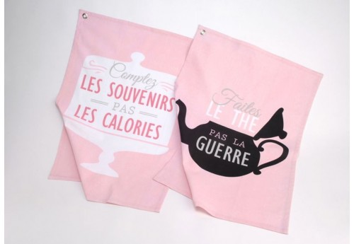 Lot de 2 torchons en coton rose avec inscription gourmandise funny Amadeus