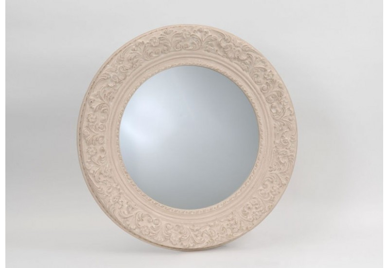 Grand miroir chic rond ornement cr me 100x100 cm amadeus for Miroir rond 100 cm