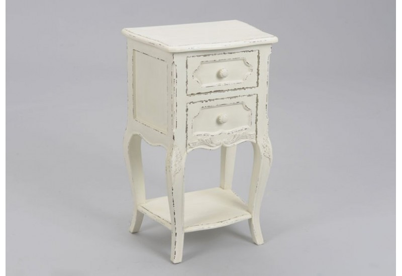 table de chevet shabby chic patin blanc antique 2t. Black Bedroom Furniture Sets. Home Design Ideas
