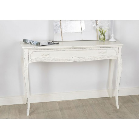 console grand mod le 1 tiroir patin e vieillie blanc antique comtes. Black Bedroom Furniture Sets. Home Design Ideas