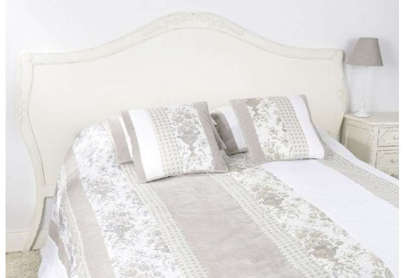 t te de lit bois vieillie blanc antique 170 cm comtesse amadeus ama. Black Bedroom Furniture Sets. Home Design Ideas