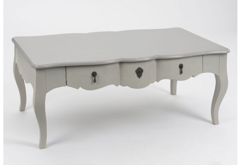 Table basse romantique bois c rus taupe gris 1 tiroir grand si cl - Table basse grand format ...