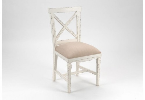Chaise patine blanc vieilli assise tissus taupe gamme gustave Amadeus