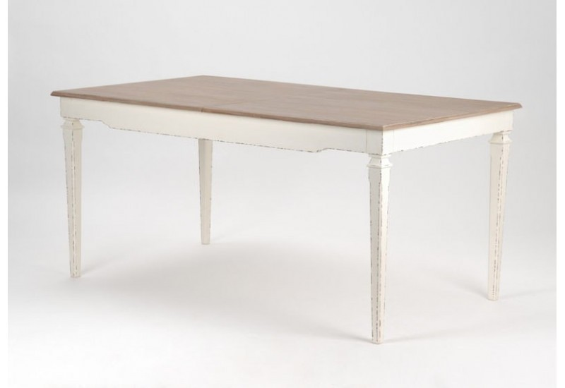Table manger rallonge en bois patine blanche et for Table a manger bois blanc