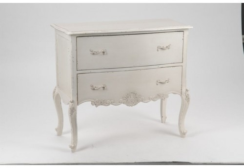 Commode chic blanche antique 2 tiroirs louise Amadeus