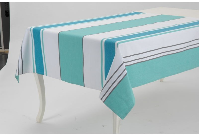 nappe carr en coton enduite souple bayad re turquoise et. Black Bedroom Furniture Sets. Home Design Ideas