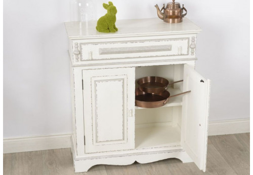 Petit buffet shabby chic patine vieilli blanc antique ornement Amadeus