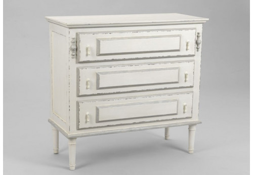 Commode chic blanche antique 3 tiroirs ornement Amadeus