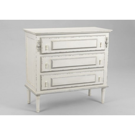 commode chic blanche antique 3 tiroirs ornement amadeus amadeus 15925. Black Bedroom Furniture Sets. Home Design Ideas