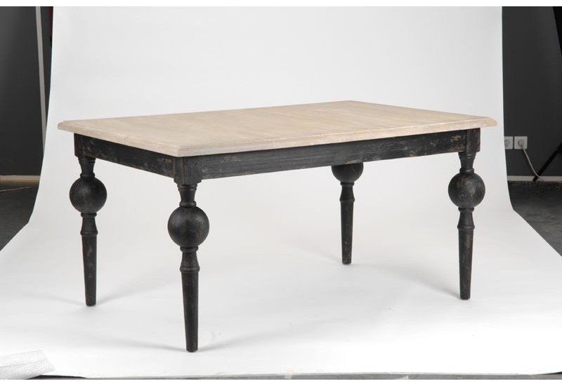 table manger baroque noire pieds boules amadeus amadeus 16032. Black Bedroom Furniture Sets. Home Design Ideas