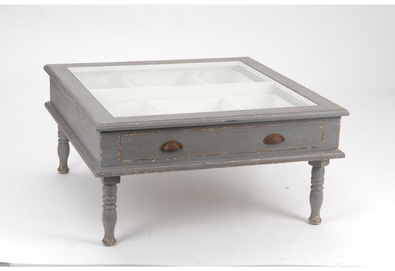 Table basse grise vieillie vitrine avec 1 tiroir amadeus for Table basse vitrine