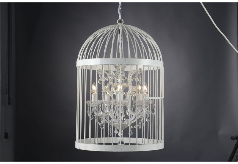 lustre cage oiseaux blanc asha avec pampilles 5 lampes amadeus am. Black Bedroom Furniture Sets. Home Design Ideas