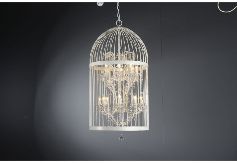 lustre cage oiseaux blanc asha avec pampilles 16 lampes. Black Bedroom Furniture Sets. Home Design Ideas