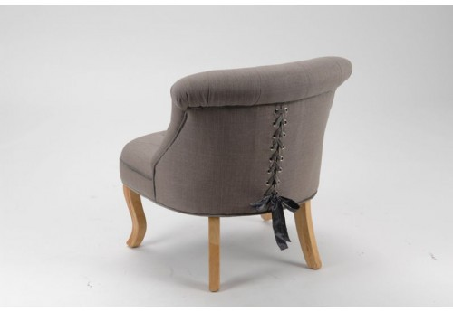 Fauteuil crapaud capitonné style baroque lady taupe Amadeus