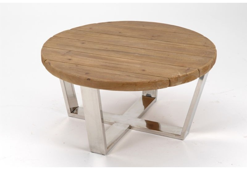 Table basse ovale bois et metal - Tables de salon en bois ...
