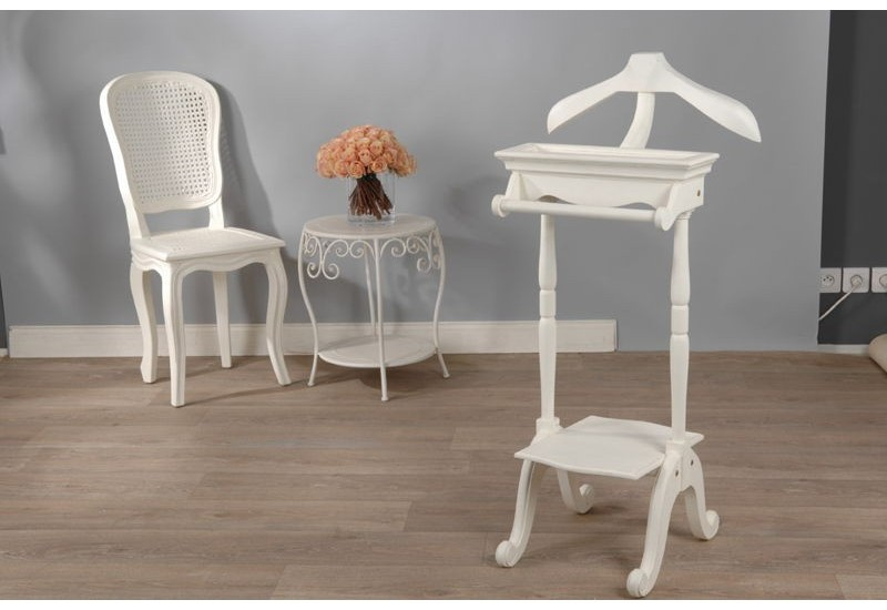 valet de nuit blanc cass en bois shabby chic murano. Black Bedroom Furniture Sets. Home Design Ideas