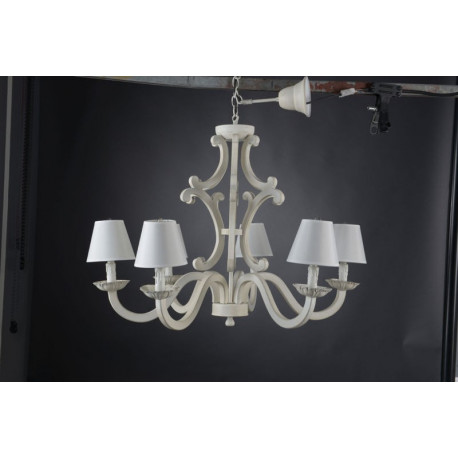 lustre shabby chic patin blanc manon avec 6 lampes amadeus amadeus. Black Bedroom Furniture Sets. Home Design Ideas