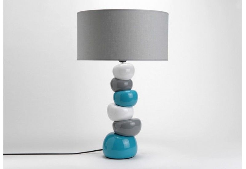lampe contemporaine en c ramique turquoise gris amadeus amadeus 15620. Black Bedroom Furniture Sets. Home Design Ideas