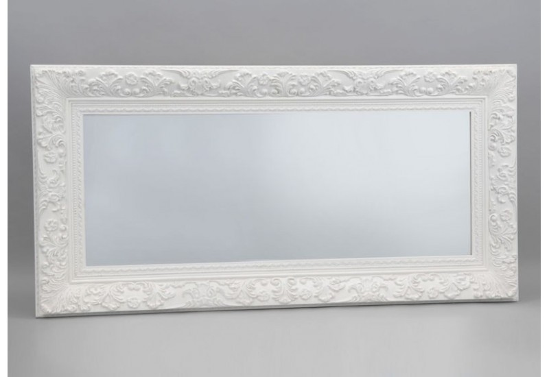 Tr s grand miroir rectangulaire ornement blanc 90x181 cm for Grand miroir blanc baroque
