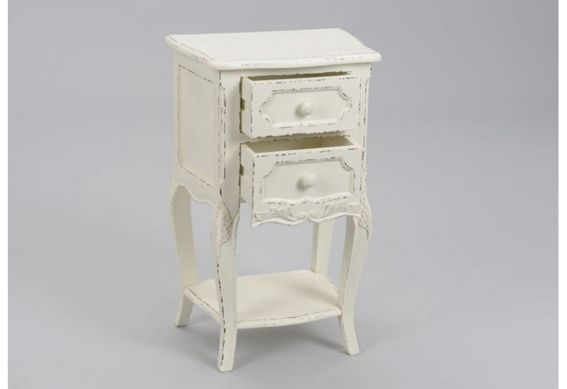 Table de chevet shabby chic patin blanc antique 2t - Table de chevet romantique ...