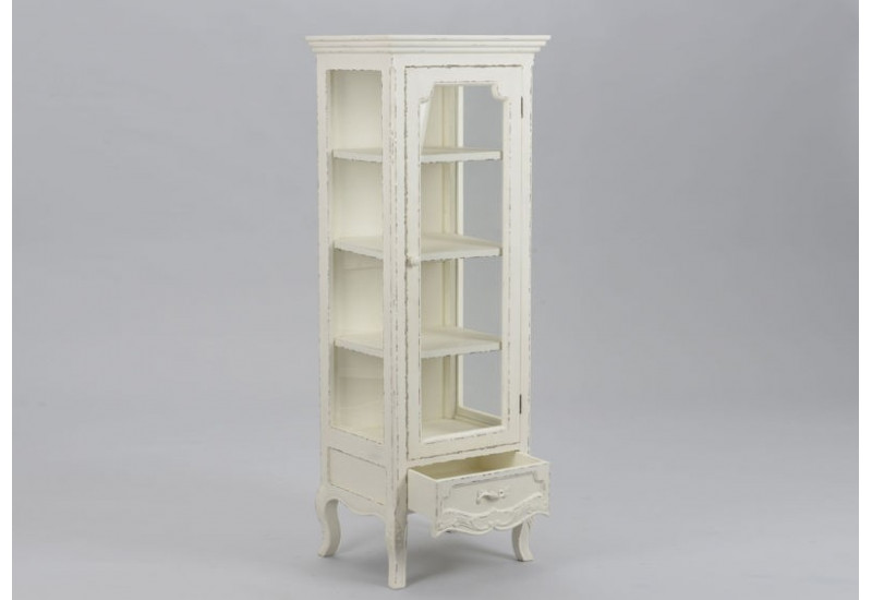 vitrine romantique en bois vieillie blanc antique 1 porte vitr e co. Black Bedroom Furniture Sets. Home Design Ideas