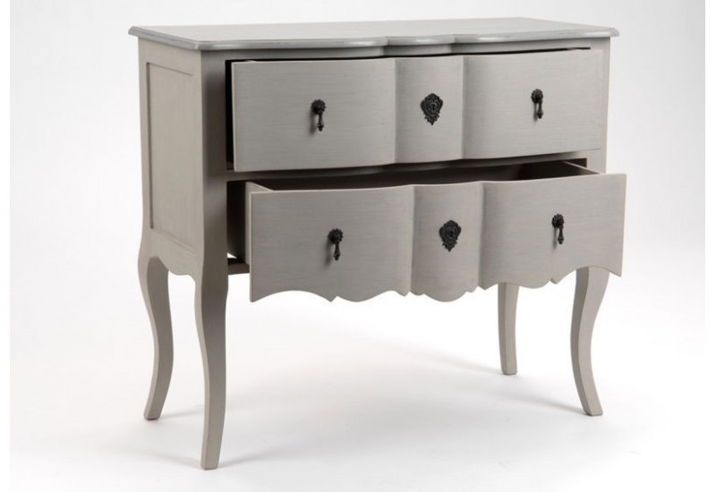 commode romantique bois c rus taupe gris 2 tiroirs grand si cle a. Black Bedroom Furniture Sets. Home Design Ideas