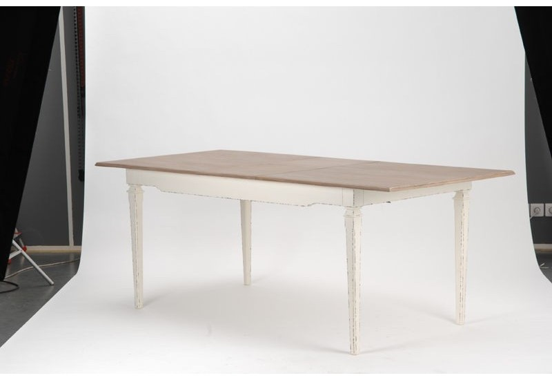 Table manger rallonge en bois patine blanche et for Table blanche a rallonge