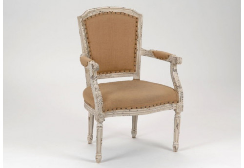 fauteuil blanc vieilli style louis xvi amadeus amadeus 16022. Black Bedroom Furniture Sets. Home Design Ideas
