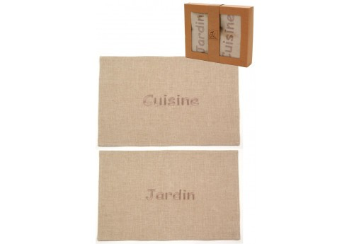 Lot De 2 Sets De Table Cuisine Et Jardin Lin Naturel 35Cm J-Line