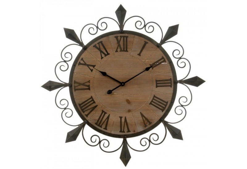 horloge fer forg et bois marron diam tre 134x5cm j line j line by. Black Bedroom Furniture Sets. Home Design Ideas