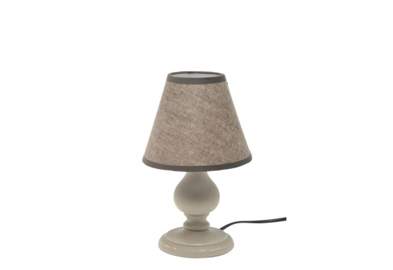 petite lampe de chevet en bois beige abat jour marron16x16x26 j lin. Black Bedroom Furniture Sets. Home Design Ideas