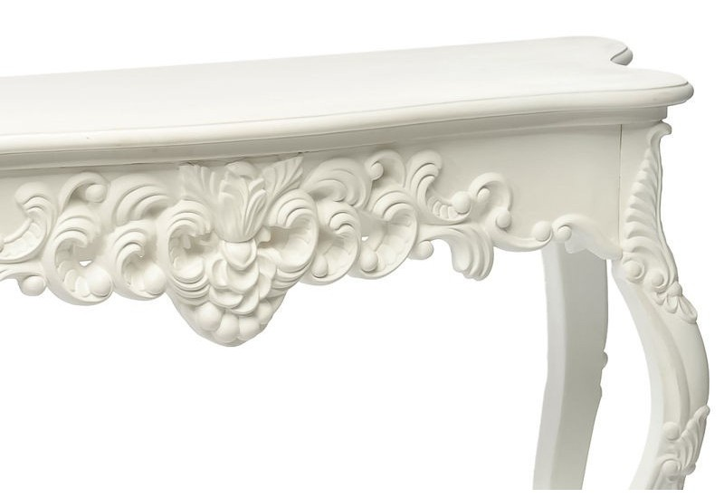 console baroque en bois blanc 136x45x76cm j line j line by. Black Bedroom Furniture Sets. Home Design Ideas