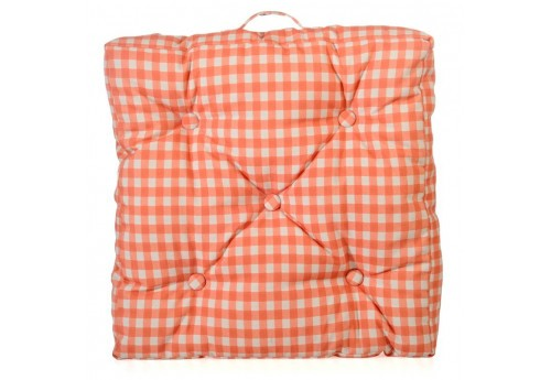 coussin de sol vichy cr me et orange en polyester 50x50 j line j li. Black Bedroom Furniture Sets. Home Design Ideas