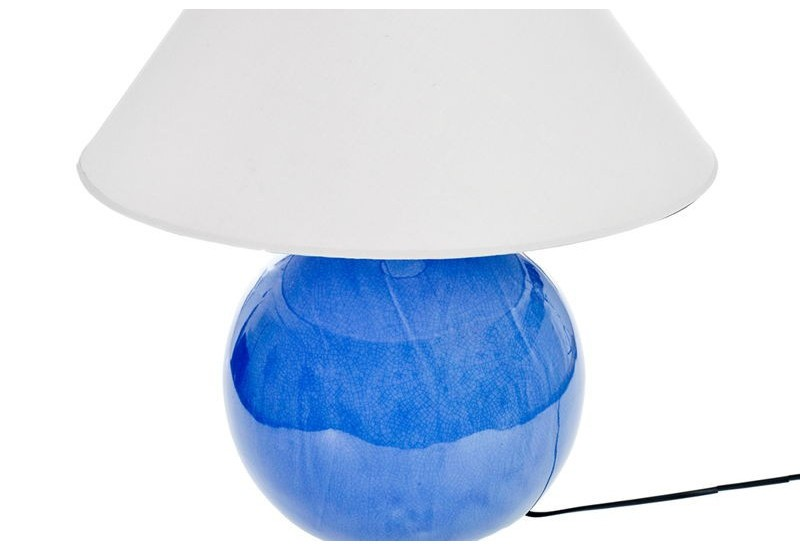 lampe de chevet boule en c ramique bleu vif 30x24cm j line. Black Bedroom Furniture Sets. Home Design Ideas